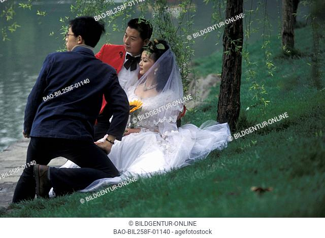 A wedding pair in the million city of Chengdu in the province of Sichuan in Centrally China