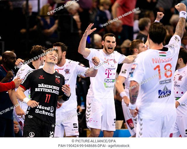24 April 2019, Schleswig-Holstein, Flensburg: Handball: Champions League, SG Flensburg-Handewitt - Telekom Veszprem, final round, knockout round, quarter finals