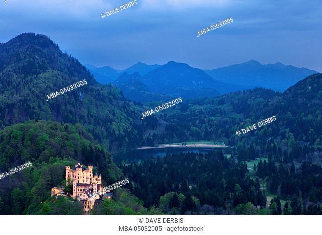 Blue hour at Hohenschwangau Castle, Bavaria, Germany