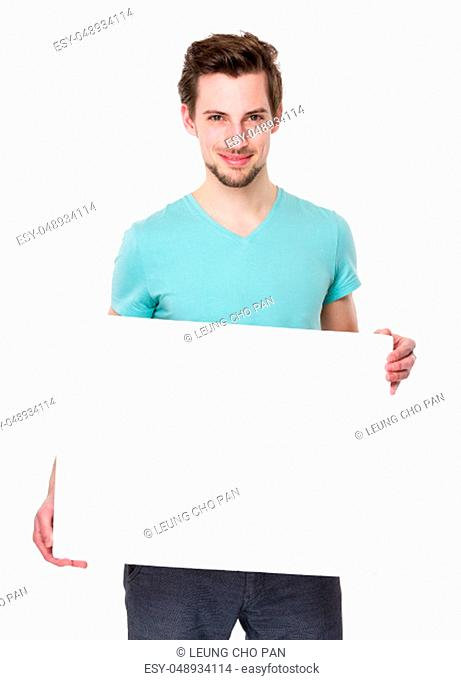 Caucasian man show with white board