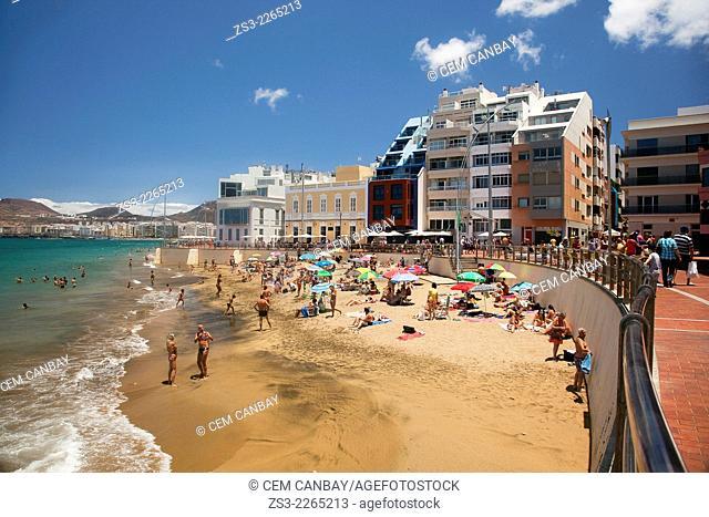 Playa de las Canteras beach, Las Palmas de Gran Canaria, Canary Islands, Spain, Europe