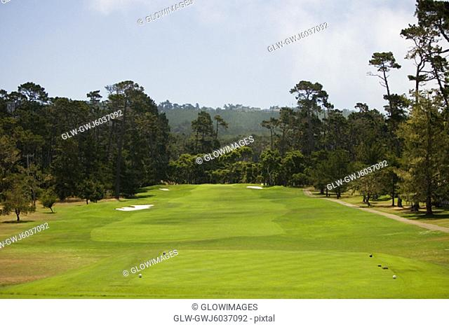 High angle view of a golf course