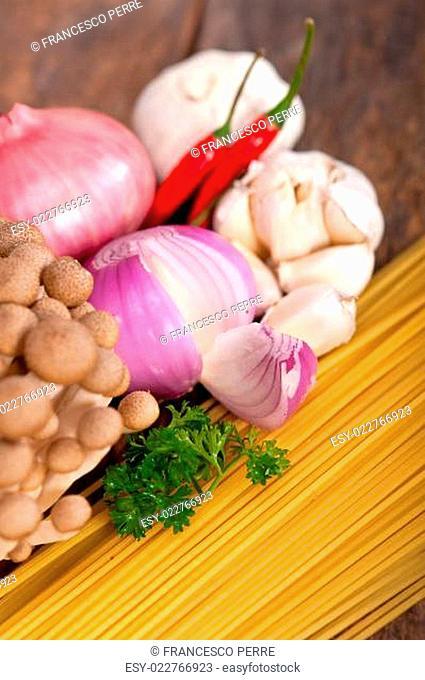 Italian pasta and mushroom sauce ingredients