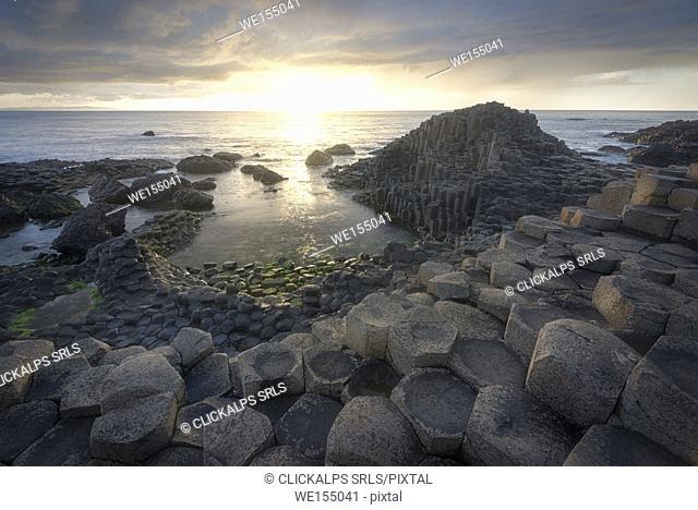 Giant's Causeway, County Antrim, Ulster region, northern Ireland, United Kingdom. Iconic basalt columns
