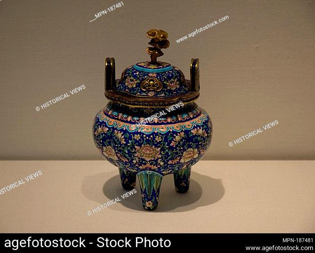 Incense Burner. Period: Qing dynasty (1644-1911); Date: 18th century; Culture: China; Medium: Painted enamel on copper; Dimensions: H. 8 1/2 in. (21