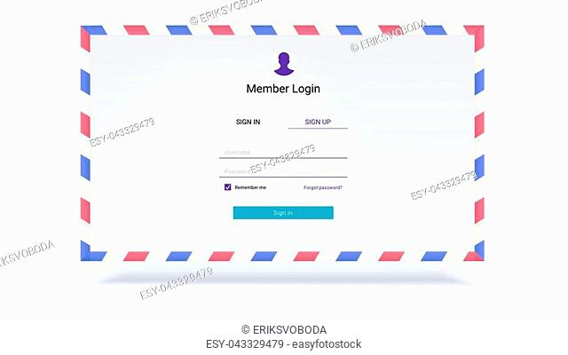 Account authorization, interface for entrance via login, password. Security application UI design on background of envelope