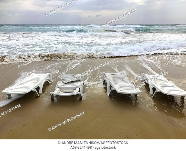 Abandoned sunbeds on Golden Beach. North Cyprus, Karpass Peninsula