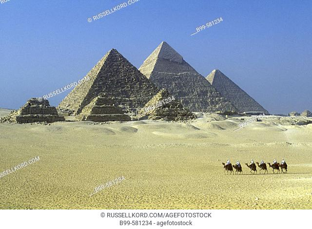 Scenic Camel Caravan, Great Pyramids, Giza Ruins, Cairo, Egypt