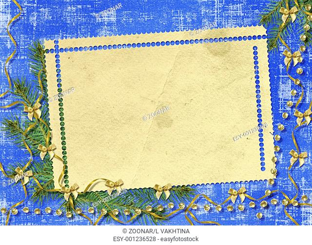 Card for congratulation with ribbons and bows on abstract background