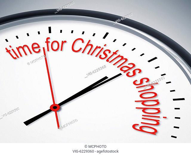 BUNDESREPUBLIK DEUTSCHLAND, BAYERN, An image of a nice clock with time for christmas shopping - Bayern, Bayern, Germany, 01/01/2018
