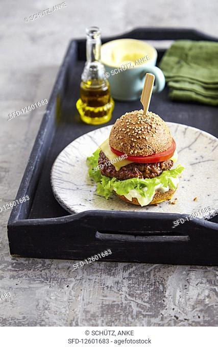 Beef burger with low carb bun