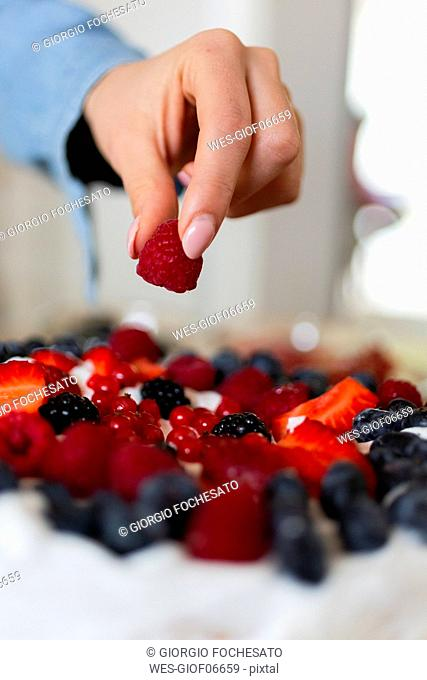 Close-up of woman preparing a cake with wild berries