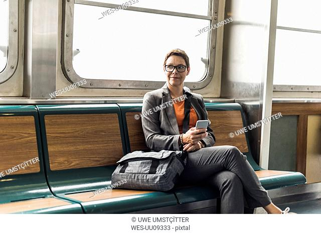 Businesswoman on a ferry