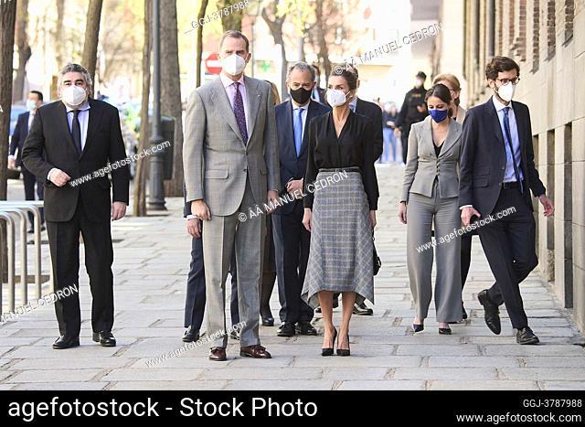 King Felipe VI of Spain, Queen Letizia of Spain visit Royal Tapestry Factory on March 16, 2021 in Madrid, Spain
