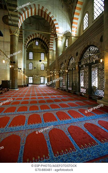 Interior of the red Mosque , Istanbul, Turkey