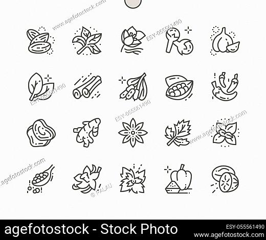 Herbs and spices Well-crafted Pixel Perfect Vector Thin Line Icons 30 2x Grid for Web Graphics and Apps. Simple Minimal Pictogram