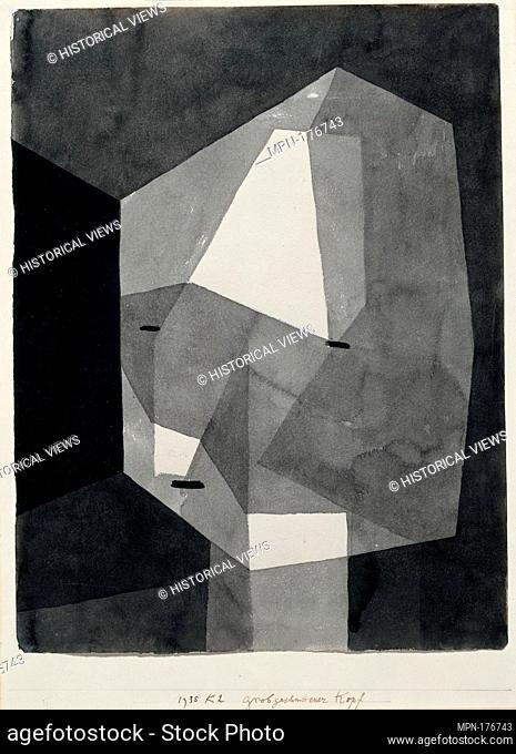 Rough-Cut Head. Artist: Paul Klee (German (born Switzerland), Münchenbuchsee 1879-1940 Muralto-Locarno); Date: 1935; Medium: Ink wash and graphite on paper...