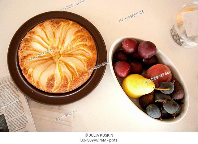 Bread pudding and fruit platter