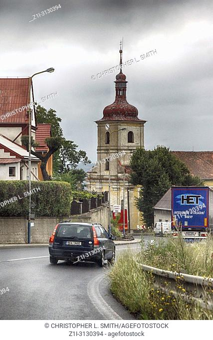 Driving through a small german town on a stormy day heading to the autobahn for Berlin