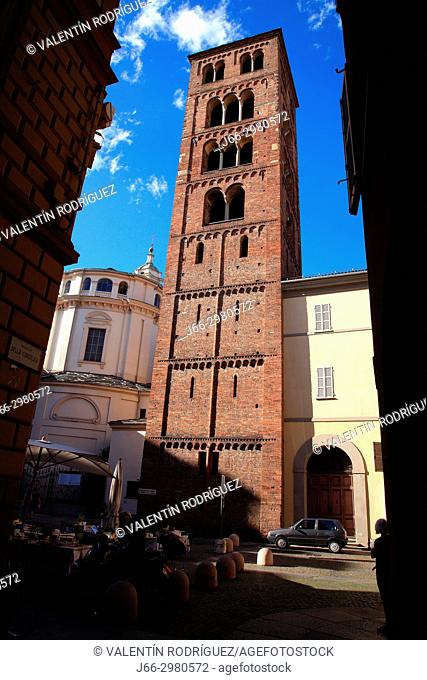 Tower of the sanctuary of the Consolata in the Piazza Consolata in Turin. Italy