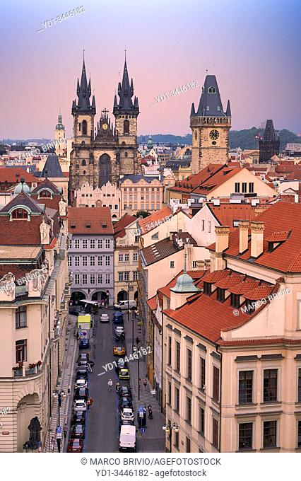 Prague Czech Republic. View on the old town at sunset
