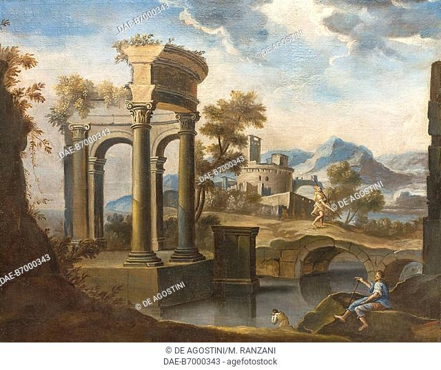 Landscape with ruins, 17th century, unknown artist, Venetian school, Salotto Soci (Members Hall), ground floor, Palazzo Spinola, Milan, Lombardy, Italy