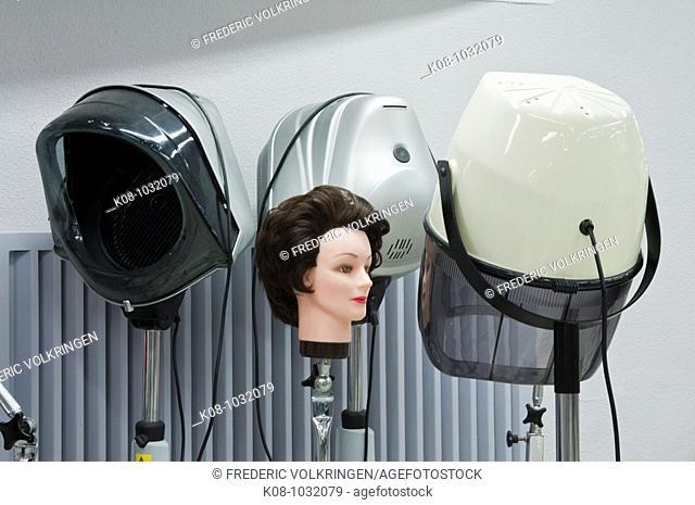 Hair-dryers in hairdresser