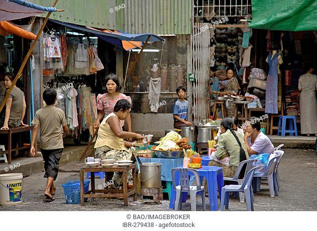 People eating, Bogyoke market, Yangon, Myanmar, Burma