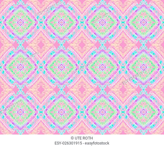 Abstract geometric seamless background. Extensive diamond pattern with pink, violet, turquoise, purple and green elements, ornate and dreamy retro style