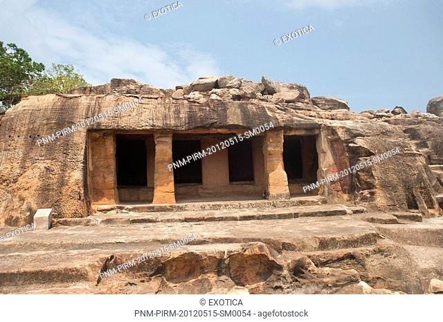 Ruins of buildings at an archaeological site, Udayagiri and Khandagiri Caves, Bhubaneswar, Orissa, India