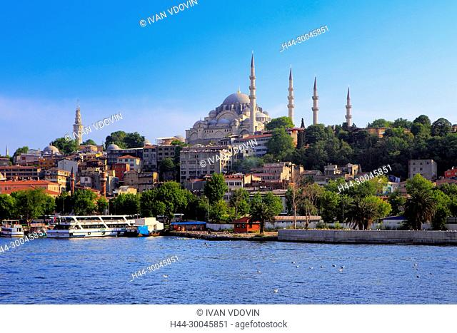 View of the shores of Golden Horn from the ferry, Bosphorus, Istanbul, Turkey