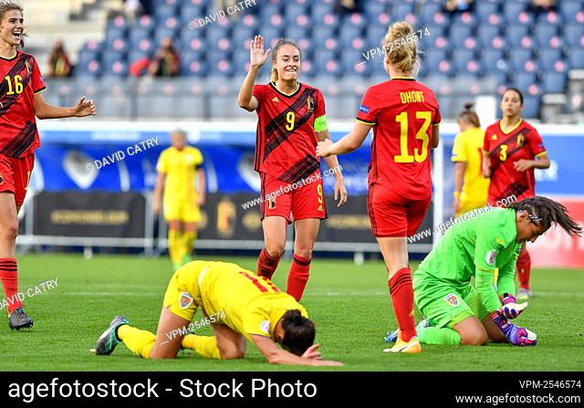 Belgium's Tessa Wullaert and Belgium's Elena Dhont celebrate after scoring during a soccer game between Belgium's Red Flames and Romania