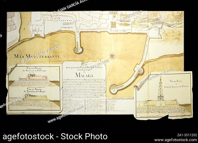 Malaga Port plan and turrets Elevation, 1849. Naval Museum of Madrid, Spain