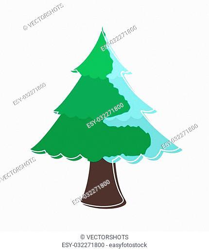 Winter Season Snow on Green Christmas Tree Vector Illustration
