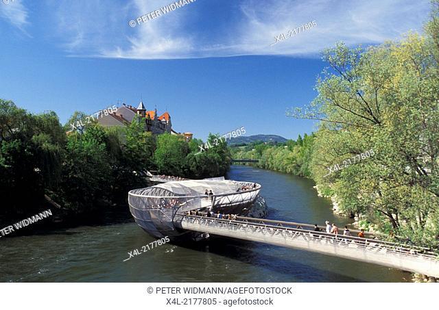 Graz 2003, artificial island in river Mur, Austria, Styria, Graz, Murinsel