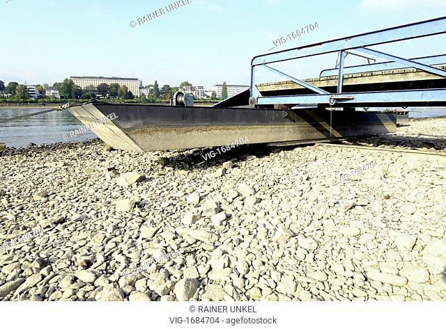 DEU, GERMANY : A ship pier lying dry in the bed of Rhine river in Bonn - Bonn, Northrhine-, Germany, 25/09/2009