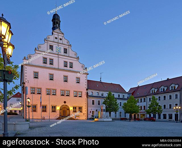 Town hall at the market in Dippoldiswalde, Saxony, Germany