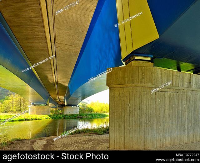 Europe, Germany, Hesse, Marburger Land, Lahn, new Lahn bridge of the B3 over the Lahn near Argenstein