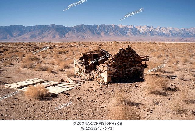 Stone Building Ruins Desert Floor Owen's Valley California