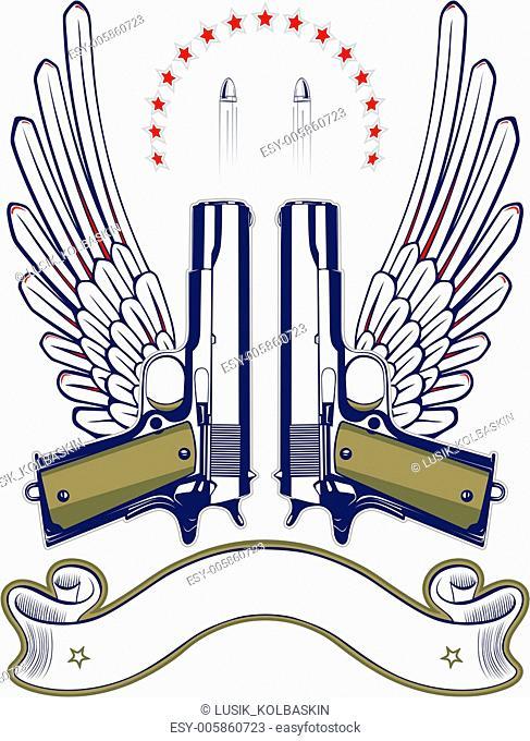 gun and bullet emblem