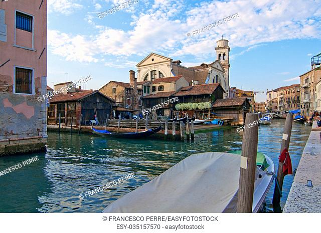"San trovaso """"squero """" in Venice Italy is the place where gondolas and other boat are build and repaired"