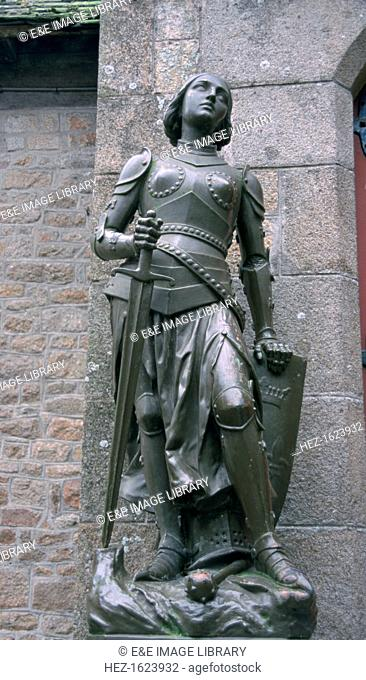 Joan of Arc statue, Mont St Michel, Normandy. St Joan, Maid of Orleans (c1412-1431), French patriot and martyr. Claiming divine inspiration