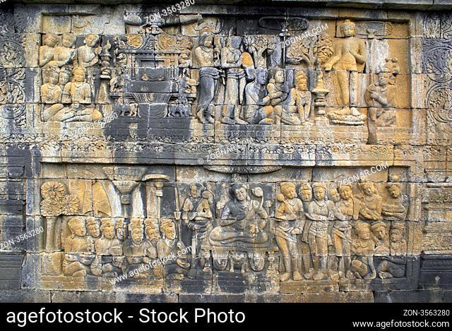 Story tale on the wall of Borobudur, Java