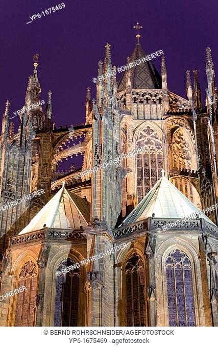 St  Vitus Cathedral at night, Prague, Czech Republic