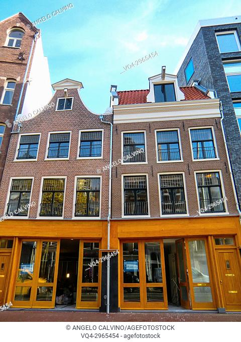 Amsterdam city center with colorful shops, Amsterdam, Holland, Netherlands, Europe