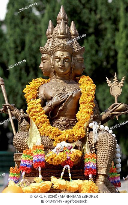 Four-headed Brahma, Hindu deity statue, New Territories, Hong Kong, China