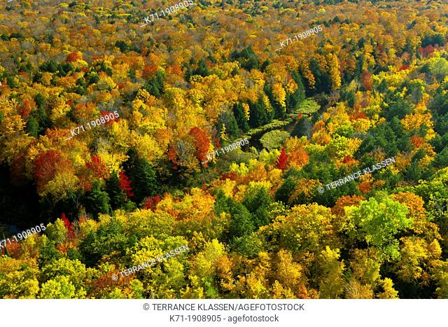 The Porcupine Mountains State Park with fall foliage color from the Lake of the Clouds overlook near Ontonagon, Michigan, USA