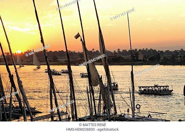 Egypt, Upper Egypt, Upper Egypt, Nile Valley, Luxor, feluccas