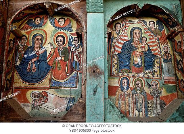 Colourful Wall Paintings, Ura Kidane Mihret Monastery, Lake Tana, Bahir Dar, Ethiopia
