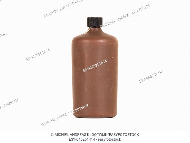 Photo developing equipment - Plastic bottle with chemicals, isolated on white